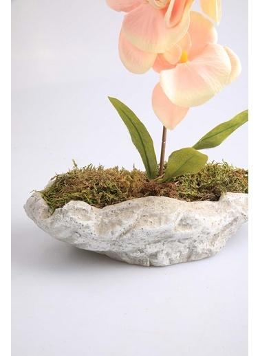 Kibrithane Çiçek Yapay Çiçek Beton Saksı Mini Somon Kumaş Orkide Kc00200791 Renkli